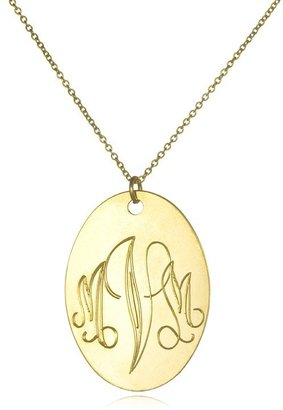 Soixante Neuf Large Oval Engraved Pendant, Gold