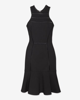 Yigal Azrouel Leather Trim Dropped Flare Dress