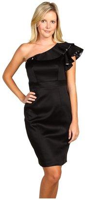 Jax Ruffled One Shoulder Dress (Black/Grey) - Apparel