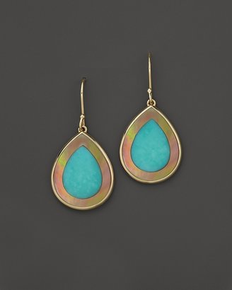 Ippolita 18K Gold Polished Rock Candy Mini Teardrop Earrings in Turquoise and Brown Shell