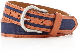 Neiman Marcus Cotton-Leather Belt, Navy