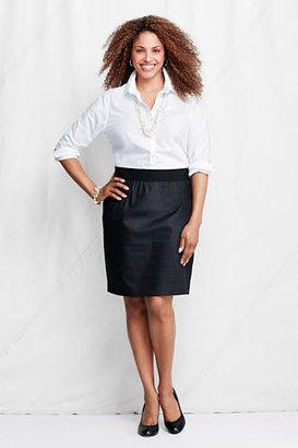 Lands' End Women's Plus Size Elastic Waist Faux Denim Pencil Skirt