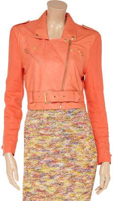 Veda Matisse linen-sleeved leather biker jacket