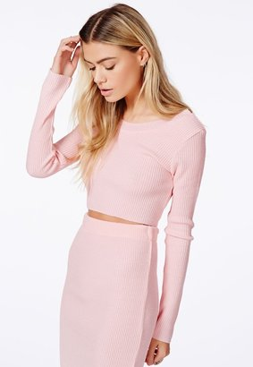 Missguided Miliana Baby Pink Knit Crop Top