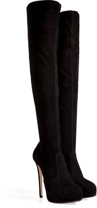 Le Silla Stretch Suede Over-the-Knee Platform Boots in Black