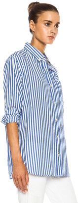 Isabel Marant Eddie Over Striped Cotton Shirt in Blue