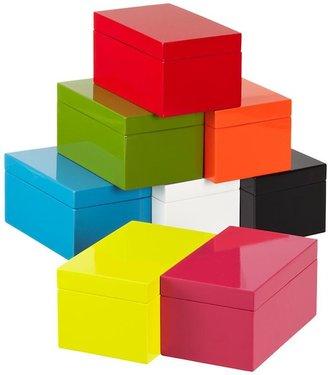 Container Store Medium Lacquered Rectangular Box Blue