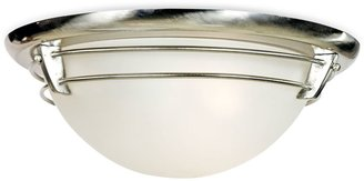 Quoizel 3-Light Brushed Nickel Flush Mount New England Ceiling Light with Acid Etched Glass