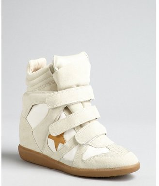Isabel Marant ivory suede and canvas star hidden wedge sneakers