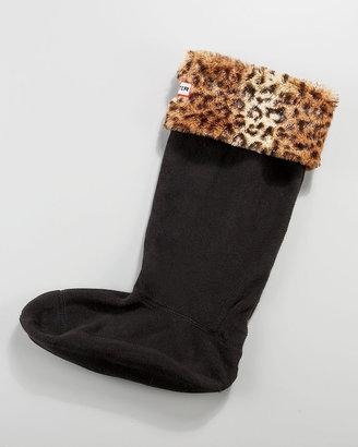 Hunter Welly Cuffed Sock, Leopard-Print