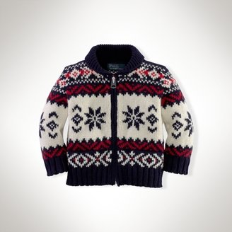 Shawl-Collar Full-Zip Cardigan