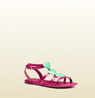 Gucci Patent Leather Sandal With Heart Details