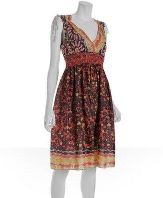 Charlotte Ronson plum tribal batik voile smocked dress