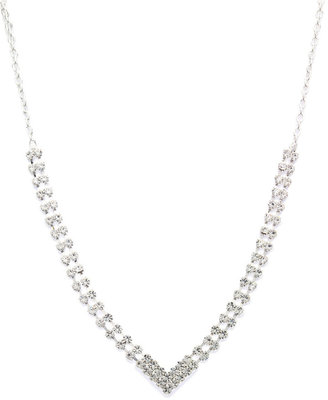 Charter Club Clear Rhinestone V Necklace
