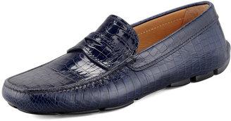 Prada Crocodile-Stamped Penny Driver, Blue