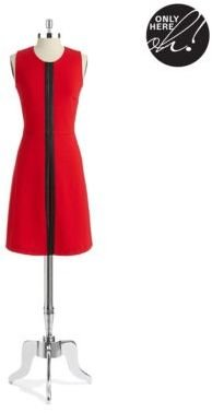 Calvin Klein Faux Leather Accented A Line Dress