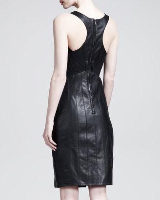 Gareth Pugh Leather Racerback Corset Dress