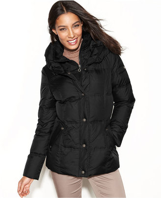 DKNY Hooded Pillow-Collar Quilted Puffer Coat