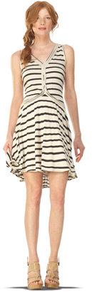 Max Studio Linen Jersey Striped Dress