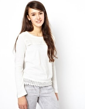 Darling Sweater With Crochet Trim
