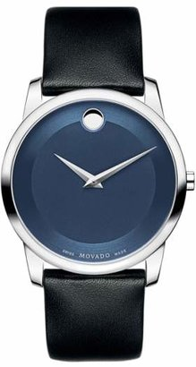 Movado 'Museum' Leather Strap Watch, 40mm