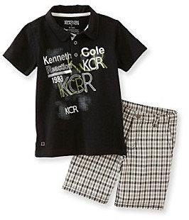 Kenneth Cole Boys' 2T-7 Black 2-pc. Polo Shorts Set