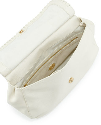 Tory Burch Marion Leather Saddle Bag, Ivory