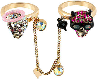 Betsey Johnson A&d Angel Devil Two Way Ring