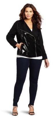 Calvin Klein Women's Plus-Size Women's Moto Seqin Front Jacket