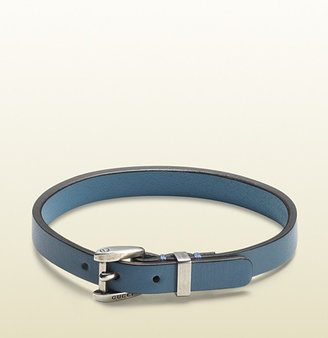 Gucci Turquoise Leather Bracelet With Palladium Buckle