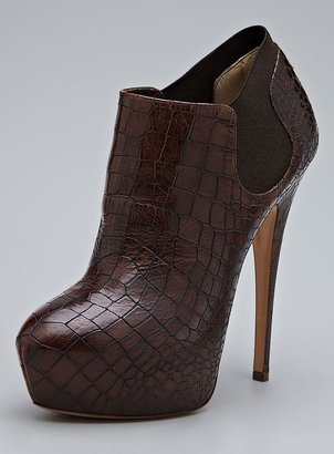 Casadei High Heel Leather Embossed Ankle Bootie