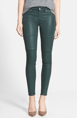 Paige 'Demi' Coated Moto Skinny Jeans (Forest Silk)