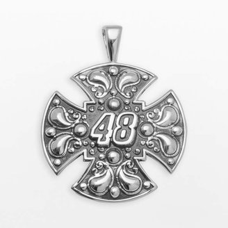 """Insignia Collection NASCAR Jimmie Johnson Sterling Silver """"48"""" Maltese Cross Pendant"""