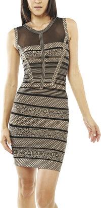 Arden B Tape Illusion Mesh Dress