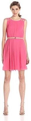 Jessica Simpson Women's Lattice Shoulder Pleated Chiffon Dress