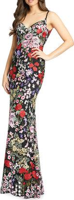 Mac Duggal Garden Floral-Embroidered Column Gown