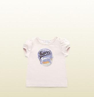 Gucci Light Pink Stretch Cotton Jersey T-Shirt
