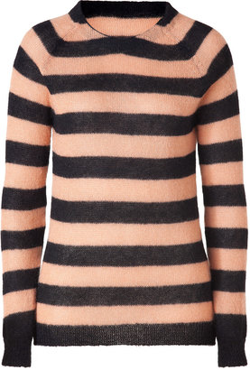Rika Black/Misty Apricot Hand Knit Mohair-Blend Pullover