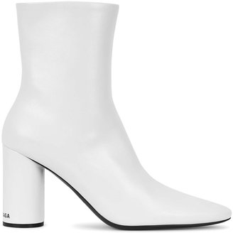 Balenciaga Oval 90 Glossed Leather Ankle Boots