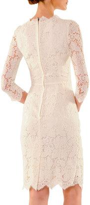 Dolce & Gabbana Scalloped Lace Elbow-Sleeve Dress