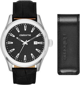 Claiborne Mens Round Black Leather Strap Watch and Money Clip Box Set