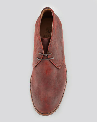 Brunello Cucinelli Waxed Suede Chukka Boot with Commando Sole, Red