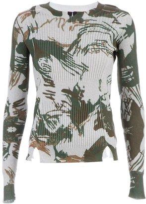 Edun abstract print ribbed sweater