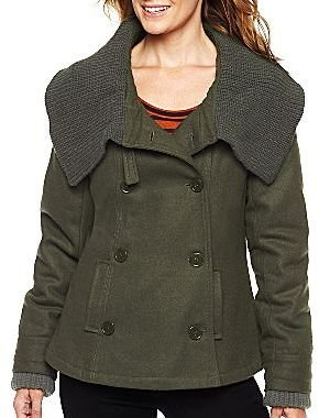 Coffee Shop CoffeeShop Double Breasted Wool Coat with Asymmetrical Collar