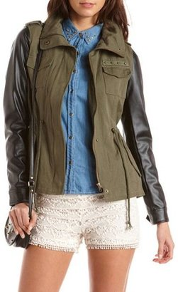 Charlotte Russe PU Sleeve Canvas Jacket