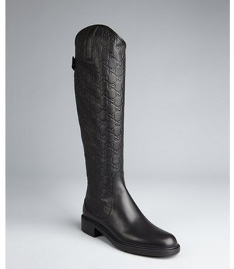 Gucci black guccisima leather rear zip tall riding boots