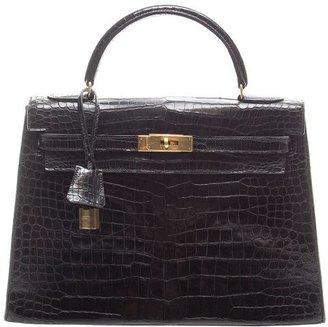 Hermes Pre-Owned Black Prorsus Crocodile 32cm Kelly Bag