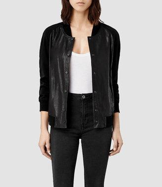 AllSaints Drey Leather Baseball Jacket