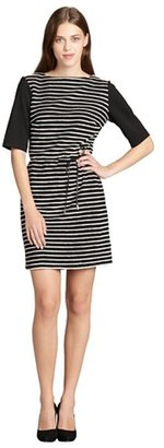 SD Collection black and ivory three quarter sleeve textured stripe dress