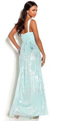 City Studio Juniors' Strapless Printed Rhinestone Gown